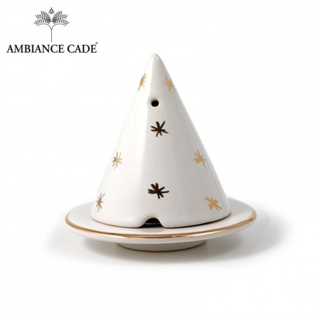 LAMPE MERLIN® - blanche étoilée : Diffuseur d'encens de poudre de Cade naturelle.