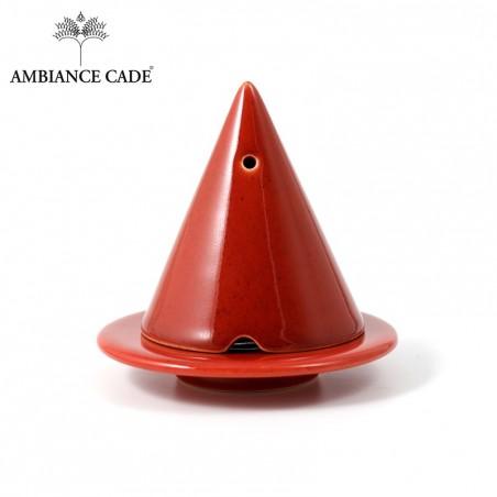 LAMPE MERLIN® - Rouge : Diffuseur d'encens de poudre de Cade naturelle.