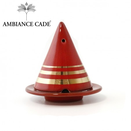 LAMPE MERLIN® - Rouge Dorée : Diffuseur d'encens de poudre de Cade naturelle.