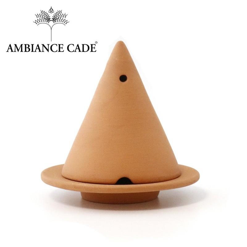 LAMPE MERLIN® - Terracotta : Diffuseur d'encens de poudre de Cade naturelle.