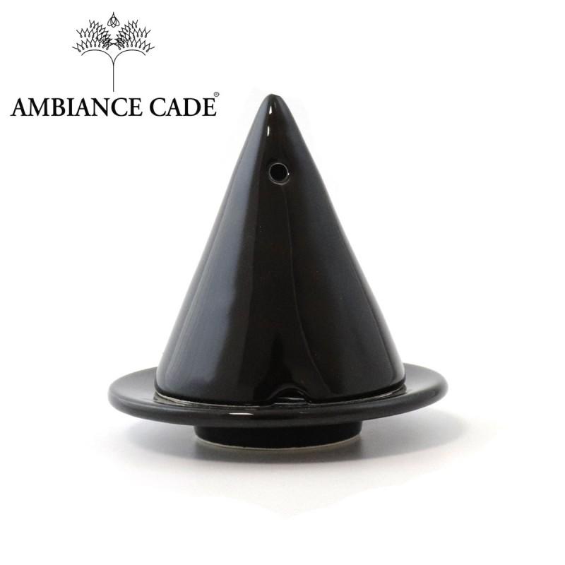 LAMPE MERLIN® - Noire : Diffuseur d'encens de poudre de Cade naturelle.