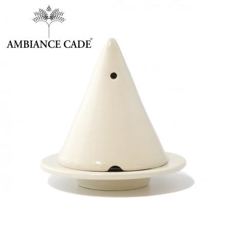 LAMPE MERLIN® - Blanche : Diffuseur d'encens de poudre de Cade naturelle.