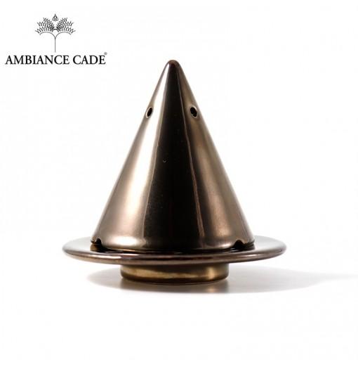 LAMPE MERLIN® - Noire Effet Doré : Diffuseur d'encens de poudre de Cade naturelle.