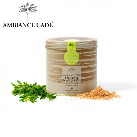 Tin of Cade wood powder +lemon verbena