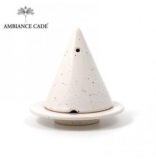 LAMPE MERLIN® - Blanche Mouchetée : Diffuseur d'encens de poudre de Cade naturelle.